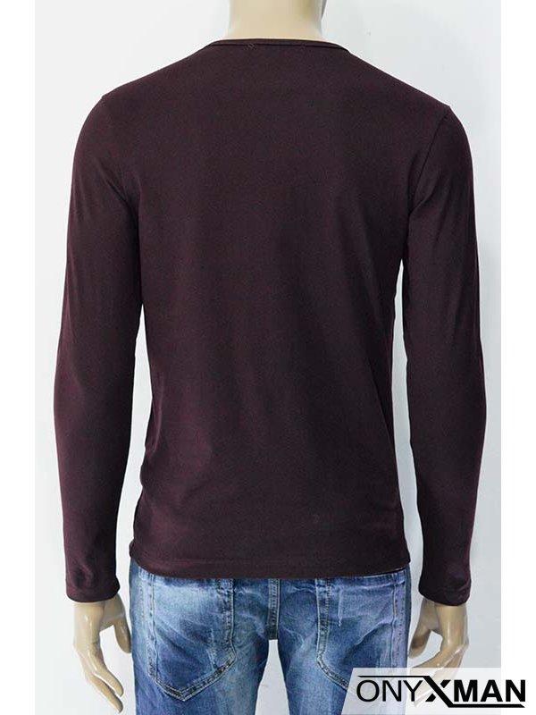 Мъжка трикотажна блуза с принт и пръски боя