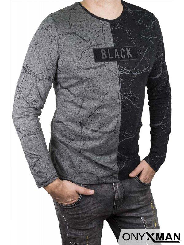 Мъжка трикотажна блуза с абстрактен принт