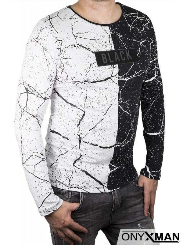 Мъжка трикотажна блуза с плюшен принт