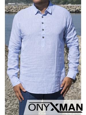 Ленена риза с дълъг ръкав в синьо с яка