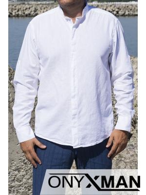 Стилна ленена риза в бяло с попска яка