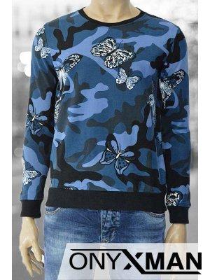 Мъжка блуза с камуфлажен десен и пеперуди