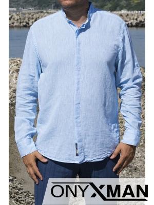 Стилна ленена риза в синьо с попска яка