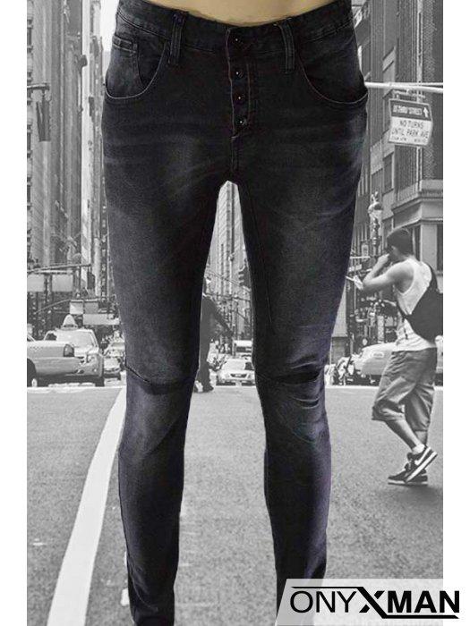 Мъжки черни деним дънки - слим