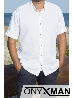 Ленена риза с къс ръкав в бяло
