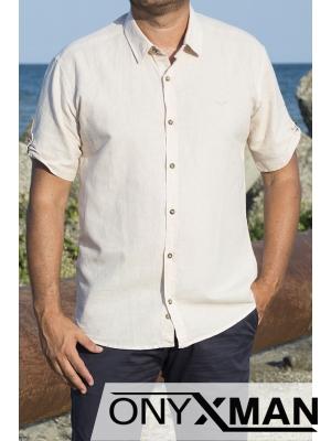 Ленена риза с къс ръкав в бежово
