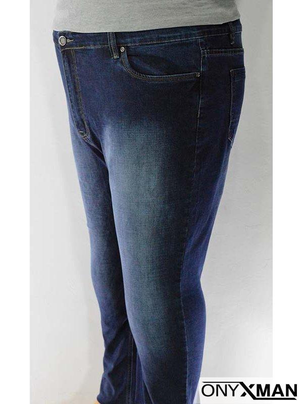 Мъжки дънки от тъмно син деним - големи размери