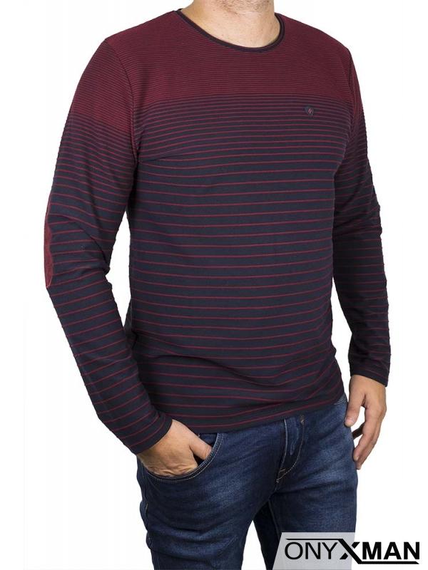 Мъжка блуза Макси в бордо с кръпки на ръкавите