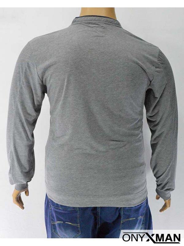 Мъжка блуза с V-образно деколте и копченца