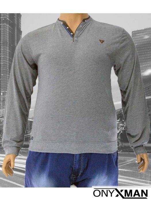 Мъжка блуза с V-образно деколте и копченца (Големи размери)