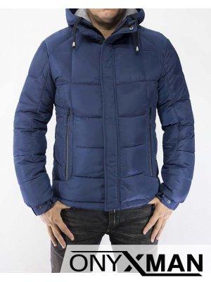 Мъжко плътно зимно яке в син цвят