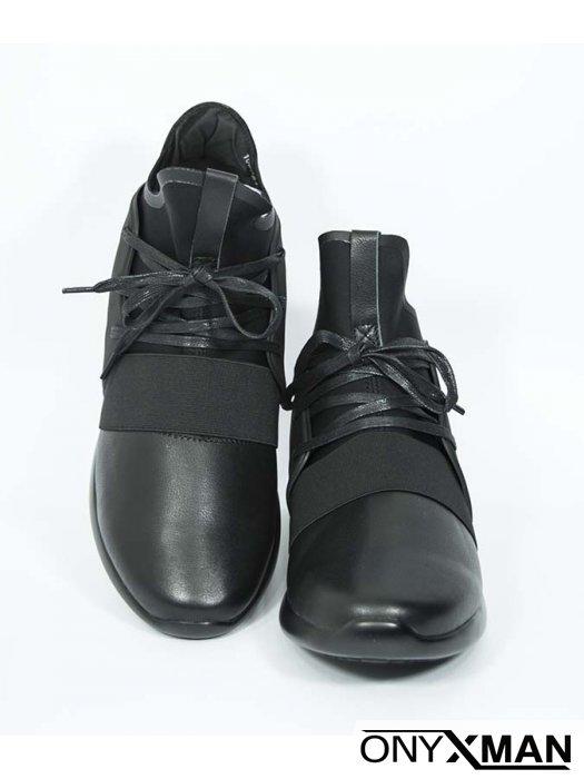 Мъжки спортни обувки от естествена кожа и неопрен
