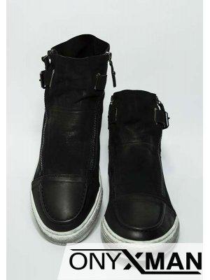 """Мъжки черни боти от естествена кожа с """"опушен"""" ефект"""