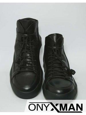 Мъжки черни футуристични боти от естествена кожа