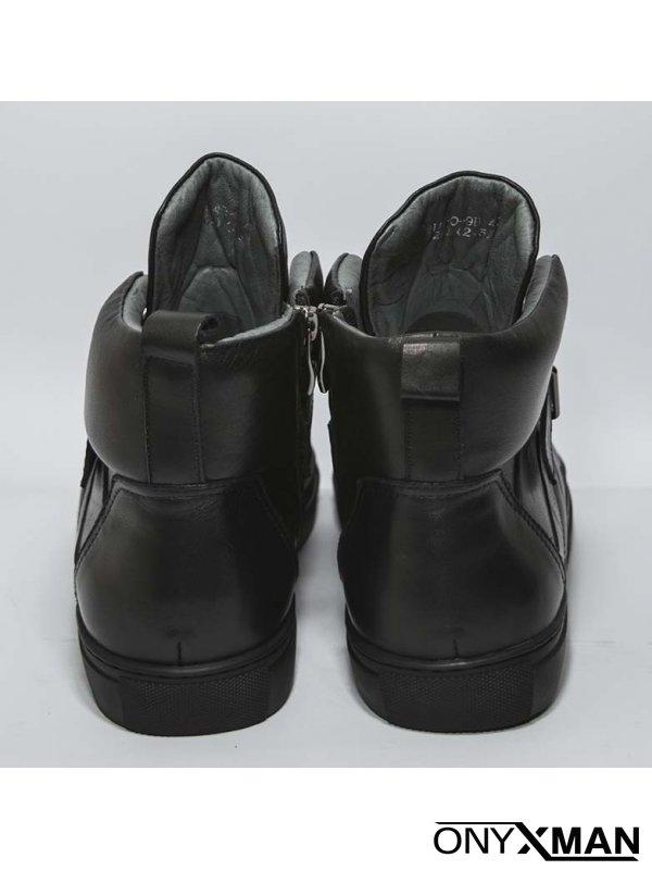 Мъжки черни боти от естествена кожа с принт