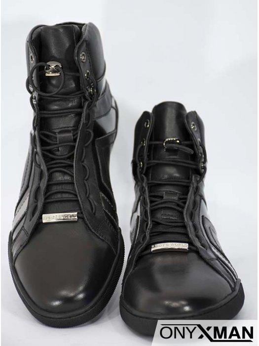 Мъжки черни боти от естествена кожа със сребристи ленти