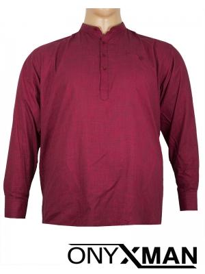 Макси ленена риза в тъмно червен цвят