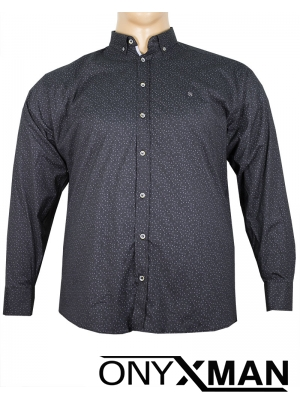 Макси черна риза с дълъг ръкав на цветя