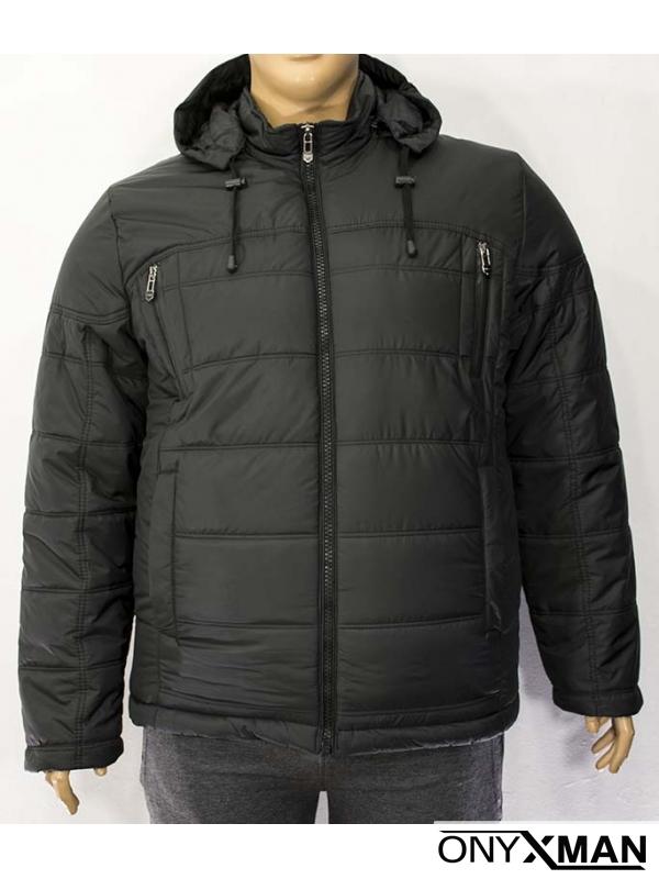 Мъжко зимно яке в черен цвят( Големи размери)