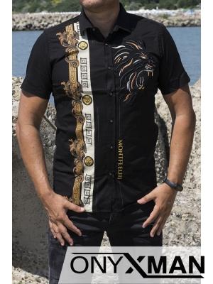 Вталена черна риза с къс ръкав с атрактивна бродерия