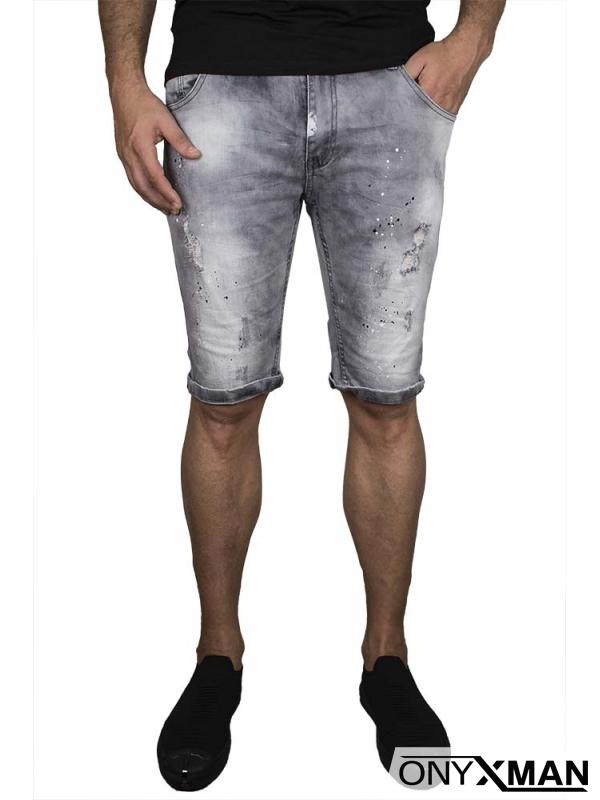 Сиви къси дънки с пръски боя