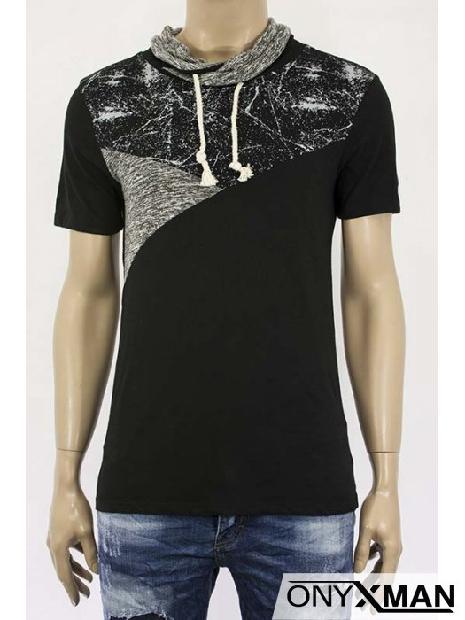 Мъжка тениска с шал яка и връзки