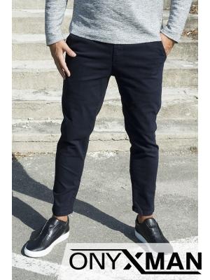 Тъмно син панталон с дължина до глезена