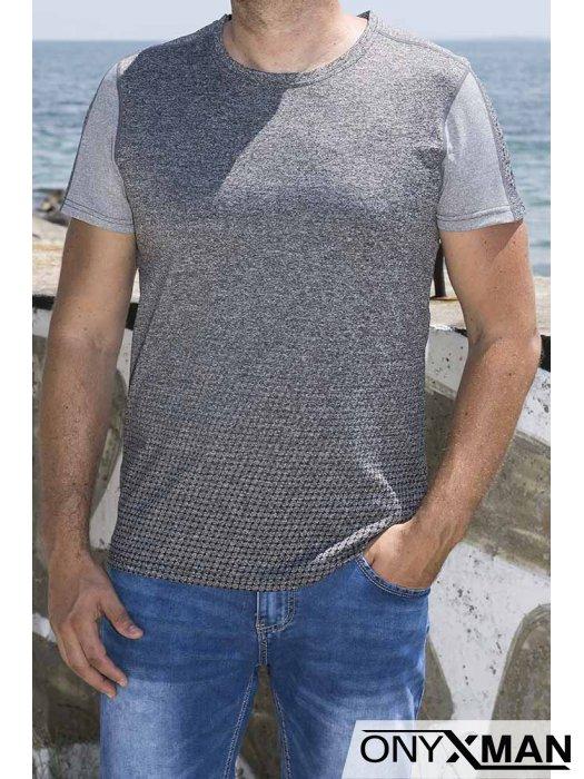 Мъжка сива тениска с черни точки