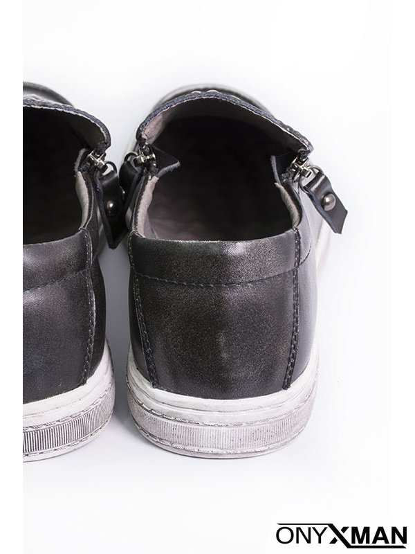 Мъжки обувки в сив цвят с крокодилски принт