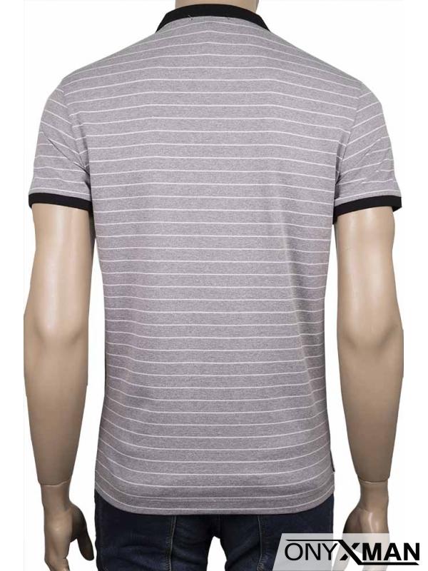 Мъжка тениска с яка и десен на райе