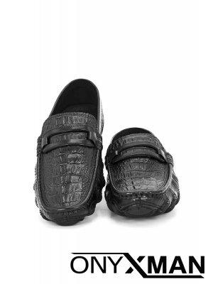 Мъжки спортно-елегантни обувки с принт на кожата