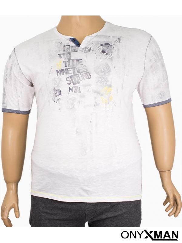 Мъжка тениска с остро деколте ( Големи размери )