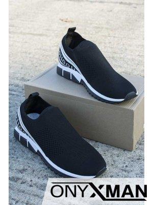 Спортни обувки с ластичен неопрен с бели надписи