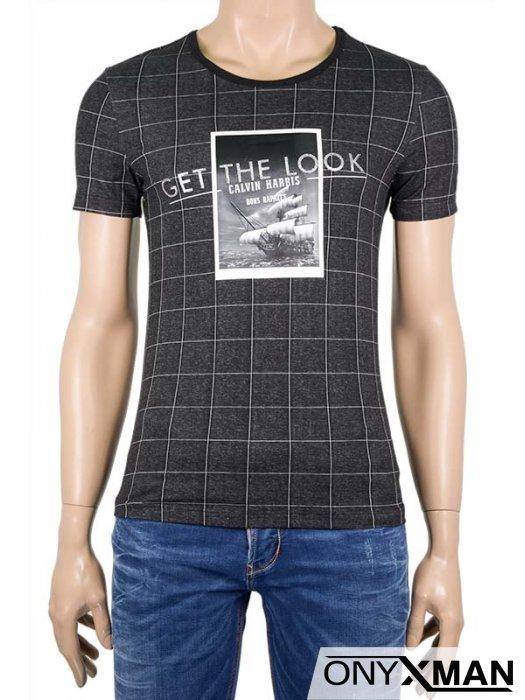Мъжка вталена тениска Каре
