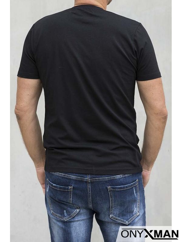 Мъжка вталена тениска с надпис