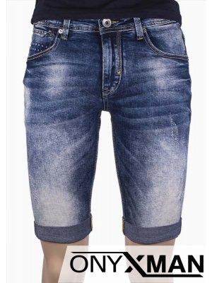 Мъжки къси дънки с принт Точки